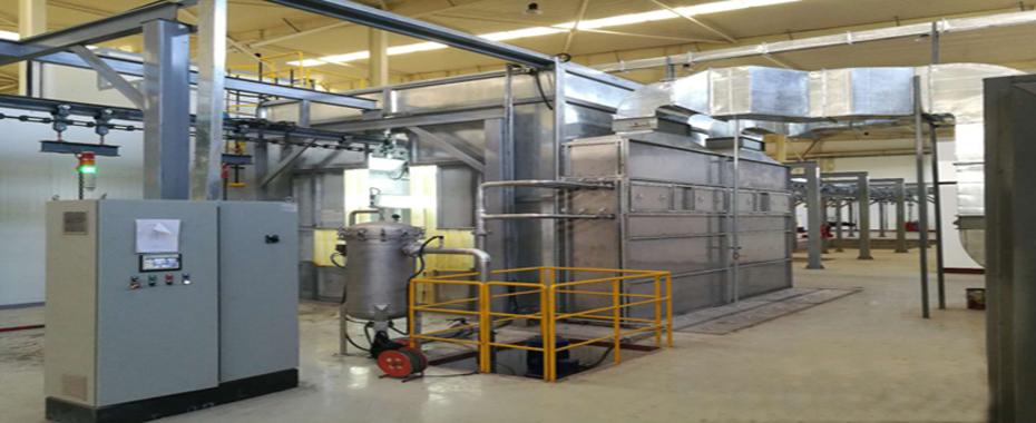 2018年为卡特彼勒帕金斯工厂建造的发动机喷漆生产线
